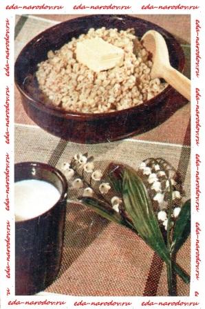 Каша перловая со сливочным маслом и молоком